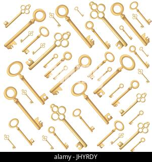 Web site page and mobile app design vector element. Retro vintage keys silhouettes vector set collection - Stock Photo