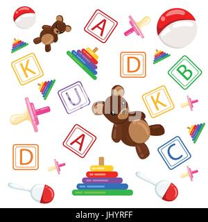 Set of vector children's toys. Isolated on a white background Web site page and mobile app design vector element. - Stock Photo