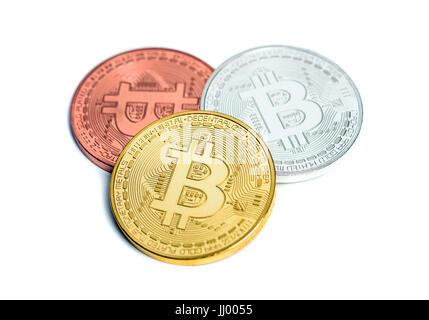 Bitcoin cypto virtual money isolated on white - Stock Photo