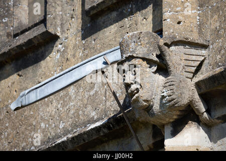 Gargoyle on St Peter's Church, Winchcombe, Cotswolds, Gloucestershire, England, United Kingdom, Europe - Stock Photo