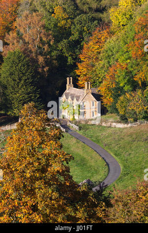View over Cotswold stone cottage in autumn, Stanway, Cotswolds, Gloucestershire, England, United Kingdom, Europe - Stock Photo