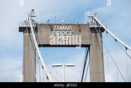 Tamar Bridge between Devon and Cornwall. Built in 1961 and on part of ther route of the A38 Dual Carriagway. - Stock Photo