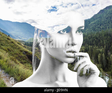 Portrait of young woman and nature landscape - Stock Photo