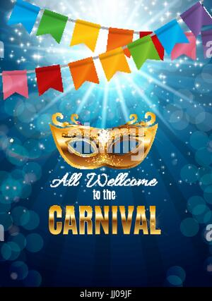 Carnival Party Mask Holiday Poster Background. Vector Illustration - Stock Photo