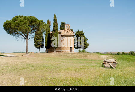 ORCIA VALLEY-MAY 31:View of the Vitaleta chapel, not far away from the town of Pienza, in the beautiful Orcia valley,Tuscany,Italy,on - Stock Photo