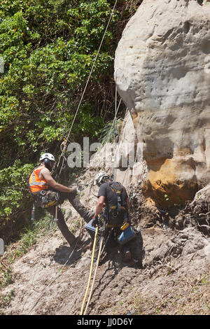 Men working to stabliize the the soft and unstable sandstone rockface at Rock a Nore road, Hastings. - Stock Photo