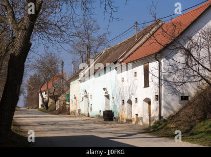 Cellar lane in village Stoitzen, wine quarter, Lower Austria, Austria - Village village Stoitzen, wine quarter region, - Stock Photo
