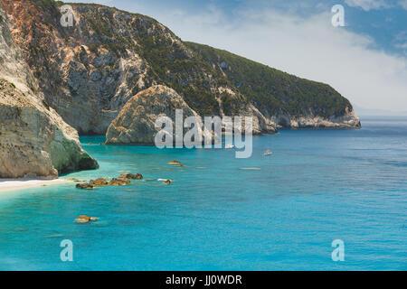 World famous Porto Katsiki beach, Lefkada island, Greece - Stock Photo