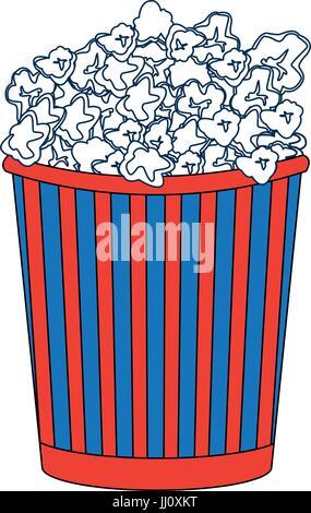 cinema cardboard striped popcorn snack bucket - Stock Photo