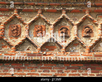 East Barsham, Tudor Manor House, detail,  terracotta decoration, on south frontage, Norfolk, England, UK - Stock Photo