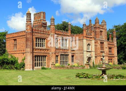 East Barsham, Manor House, early 16th century, Tudor Manor, south facade, porch, Norfolk, England, UK - Stock Photo