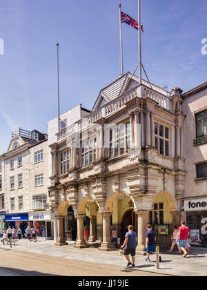 21 June 2017: Exeter, Devon, England, UK - The Guildhall in High Street, Exeter. - Stock Photo