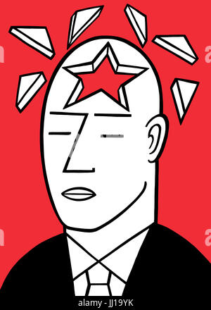 Heads are for thinking. A graphic illustration - Stock Photo