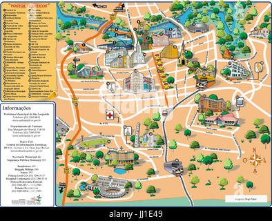 Map, legend, Porto Alegre, Rio grande do Sul, Brazil - Stock Photo