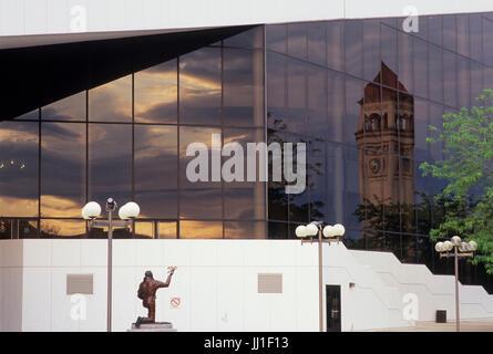Clock Tower reflection in Opera House window, Riverfront Park, Spokane, Washington - Stock Photo