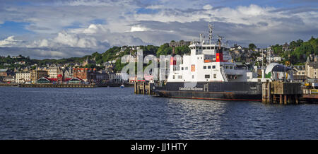 MV Coruisk ferry boat from Caledonian MacBrayne docked in the Oban port, Argyll and Bute, Scotland, UK - Stock Photo