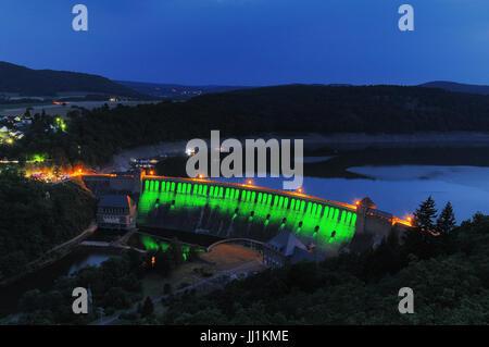Edersee green Illuminated Dam at the twilight - Stock Photo