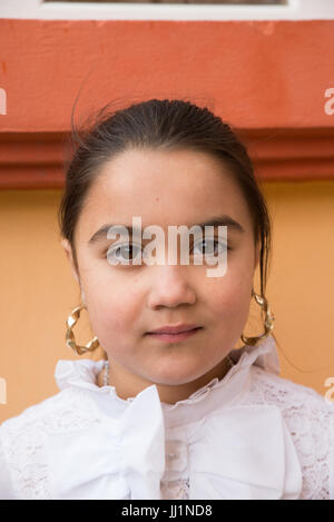 Portrait of a young Roma gyspy girl, Ivanesti, Romania - Stock Photo