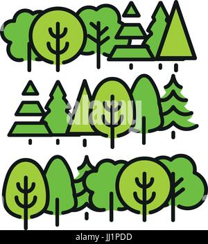Isolated green color trees in lineart style set, forest,park and garden flat vector illustrations collection. - Stock Photo