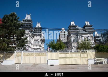 Wealthy house of a Roma gypsy family, Ivanesti, Romania - Stock Photo