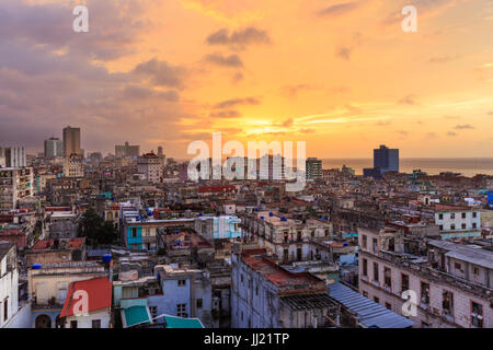 Sunset over Old Havana, La Habana Vieja from above, historic old town rooftop view, Havana, Cuba - Stock Photo