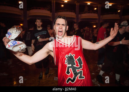Juggalos (Insane Clown Posse fans) at an ICP concert at the Eagle/Rave club in Milwaukee, Wisconsin. - Stock Photo