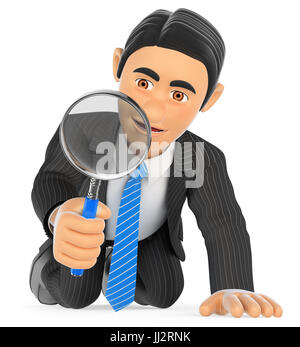 3d business people illustration. Businessman kneeling looking through a magnifying glass. Isolated white background. - Stock Photo