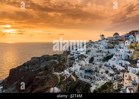 Sunset view, Oia, Santorini, South Aegean, Greece - Stock Photo