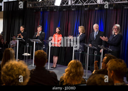 Seattle, Washington, USA. 17th July, 2017. The six leading candidates on stage at the 2017 Seattle Mayoral debate - Stock Photo