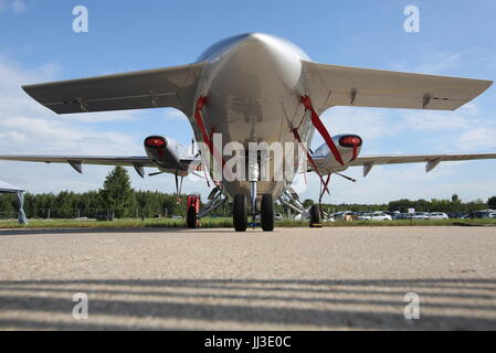 Moscow Region, Russia. 18th July, 2017. A Piaggio P.180 Avanti, an Italian executive transport aircraft, on display - Stock Photo
