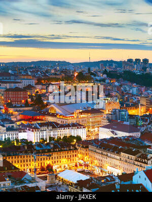 Lisbon city center aerial view in the beautiful twilight. Portugal - Stock Photo