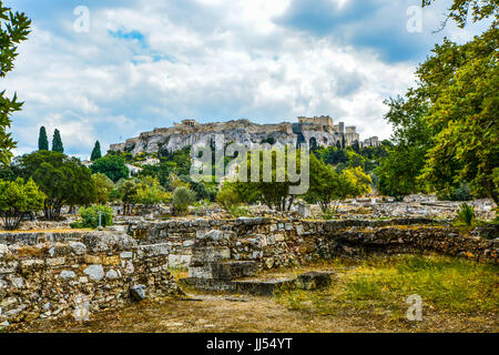 Athens Acropolis Hill. The Parthenon and Acropolis from the agora below in Athens Greece - Stock Photo