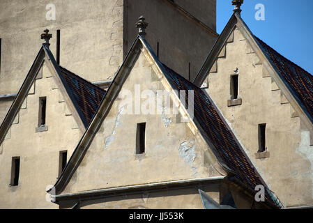 Outside view of the Lutheran Cathedral of Saint Mary, Sibiu, Transylvania, Romania - Stock Photo