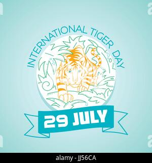 Calendar for each day on july 29. Greeting card. Holiday - International Tiger Day. Icon in the linear style - Stock Photo