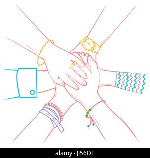 The concept of friendship and support in the form people making pile of hands. Icon in the linear style - Stock Photo
