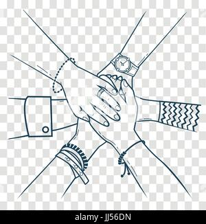 The concept of friendship and support in the form people making pile of hands. Icon, silhouette in the linear style - Stock Photo
