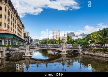 Port Louis, Mauritius - December 25, 2015: Bridge in the city center of Port Louis, capital of Mauritius, Indian - Stock Photo