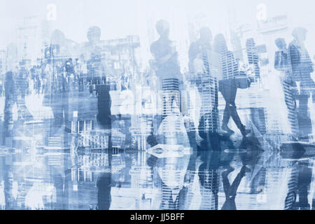 business people double exposure with reflection, abstract silhouettes of crowd, concept background Stock Photo
