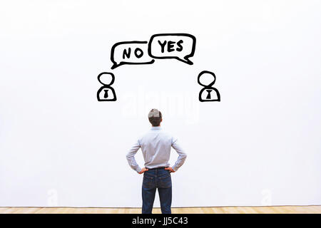 yes vs no, negotiation, dialog or dispute concept, discussion of two business people with different opinions - Stock Photo