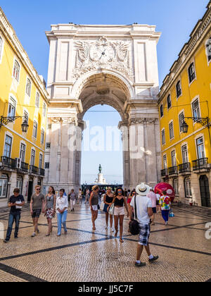 LISBON, PORTUGAL - JUNE 13, 2017: The Rua Augusta Arch, a triumphal arch-like, historical building in Lisbon, Portugal, - Stock Photo