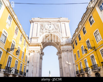 The Rua Augusta Arch, a triumphal arch-like, historical building in Lisbon, Portugal, on the Praca do Comércio. - Stock Photo