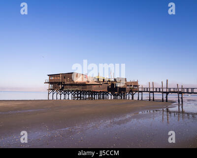 The Raft restaurant in Walvis Bay, Namibia, shortly after sunrise. - Stock Photo