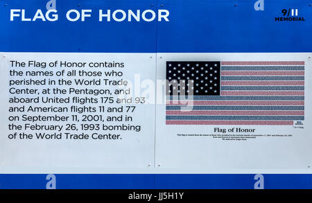 This version of the Flag of Honor displayed on a wall at Ground Zero in New York City contains the names of all - Stock Photo