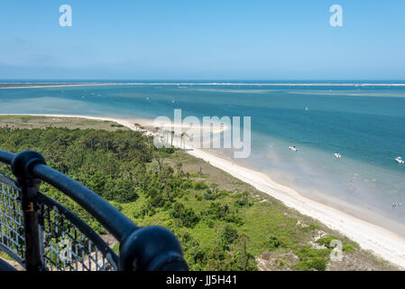 View from Cape Lookout Lighthouse above white sand beach of Crystal Coast shoreline in North Carolina's southern - Stock Photo