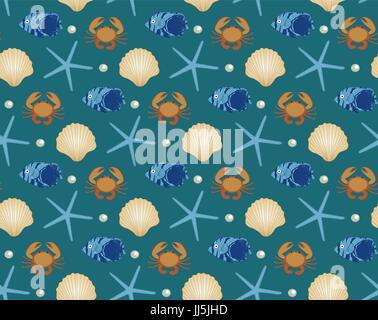 Marine seamless pattern, cartoon style. Underwater world, sea life infinite background. Starfish, shell, fishes - Stock Photo