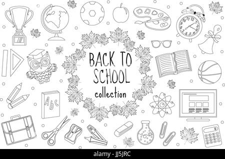 Back to school set of icons, line style. Education collection of doodle design elements, outline. Coloring page - Stock Photo