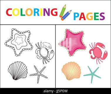 Coloring book page. Sea set, star, shell, crab, pearl. Sketch outline and color version. Coloring for kids. Childrens - Stock Photo
