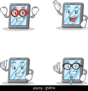 Set of tablet character with hero okay proud businessman - Stock Photo
