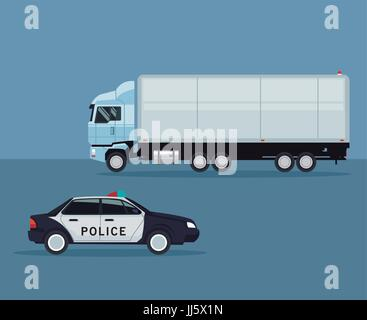 color background with truck and police car vehicle transport - Stock Photo