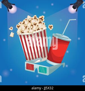 color background spotlights with popcorn pack and soda with glasses 3D - Stock Photo
